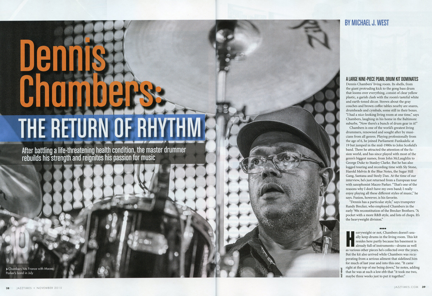 Jazz Times Magazine - November 2015 - Mat Ninat double page. Dennis Chambers photo.