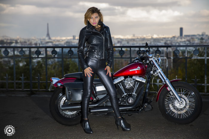 Rachel model from Paris, France. Photography by Mat Ninat Studio. Harley-Davidson Street Bob motorcycle.